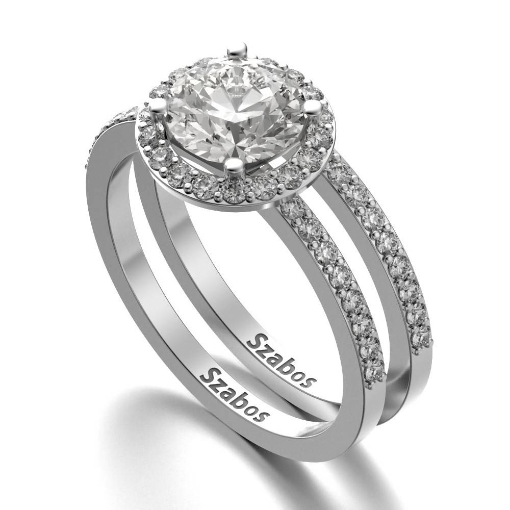 Halo Engagement Ring With Side Diamonds And Matching Wedding Band Inside Wedding Bands To Match Solitaire Engagement Ring (View 2 of 15)