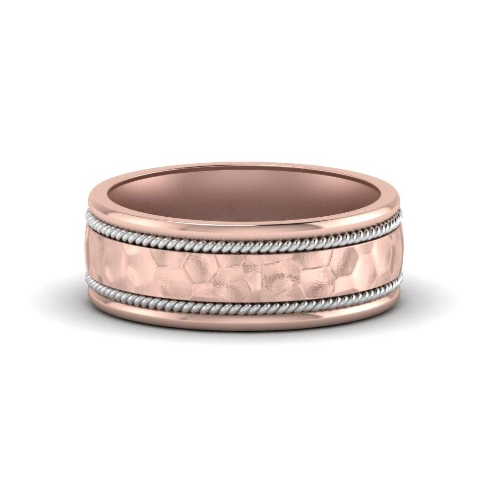 Hammered 2 Tone Mens Diamond Band In 14K Rose Gold | Fascinating In Mens Rose Gold Wedding Bands (View 6 of 15)
