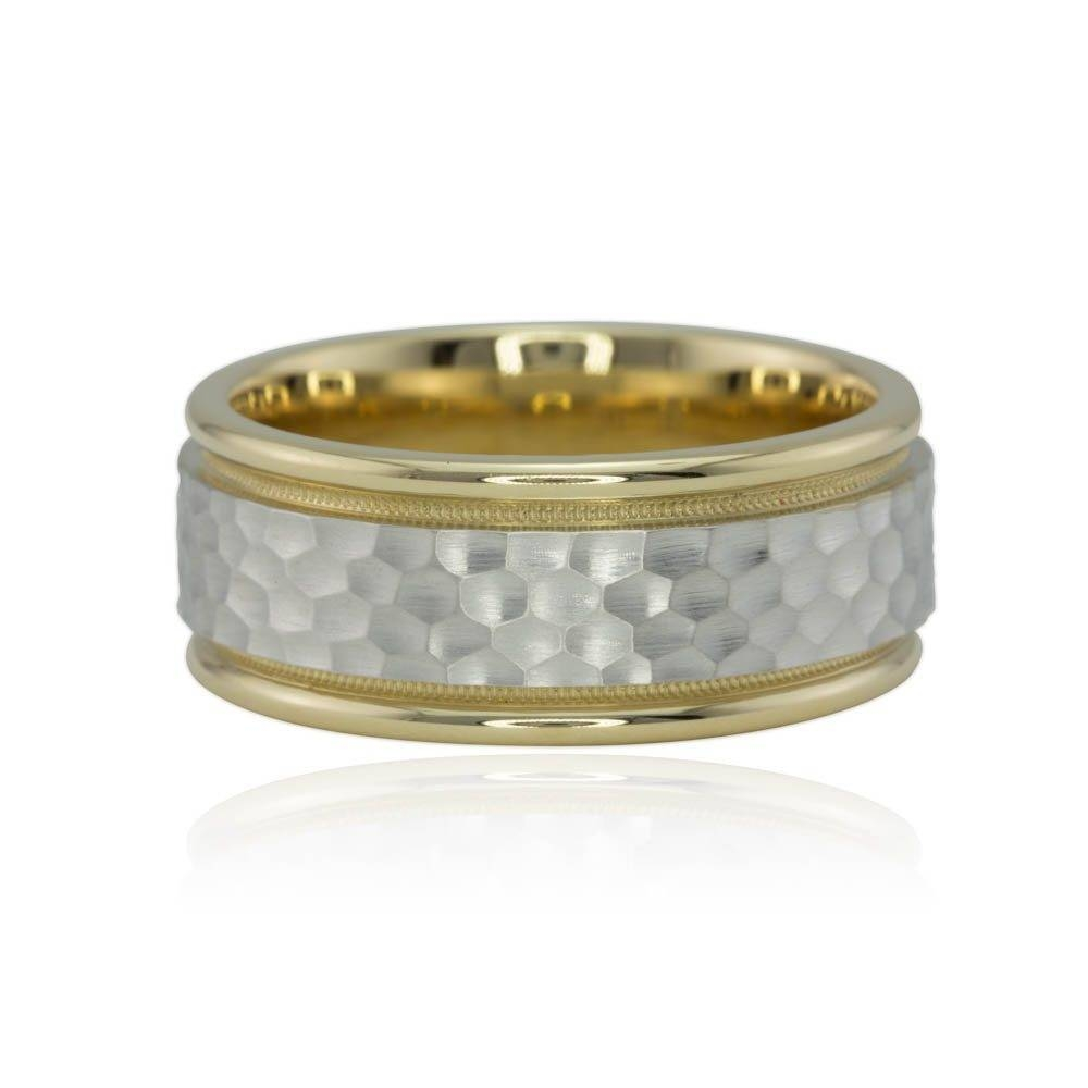 Hammered Men's Wedding Band With Milgrain In Two Tone Gold Regarding Mens Hammered Wedding Bands (Gallery 15 of 15)