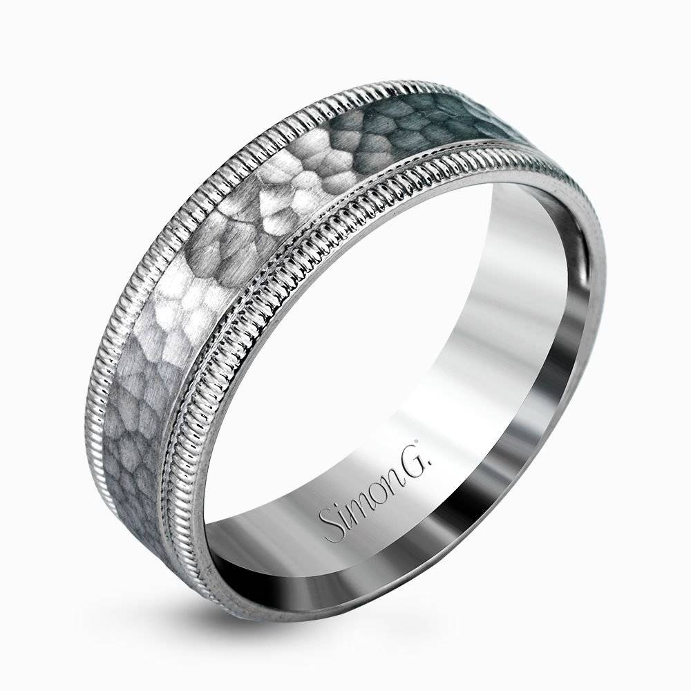 Hammered Platinum Contemporary Men's Wedding Band – Simon G (View 5 of 15)