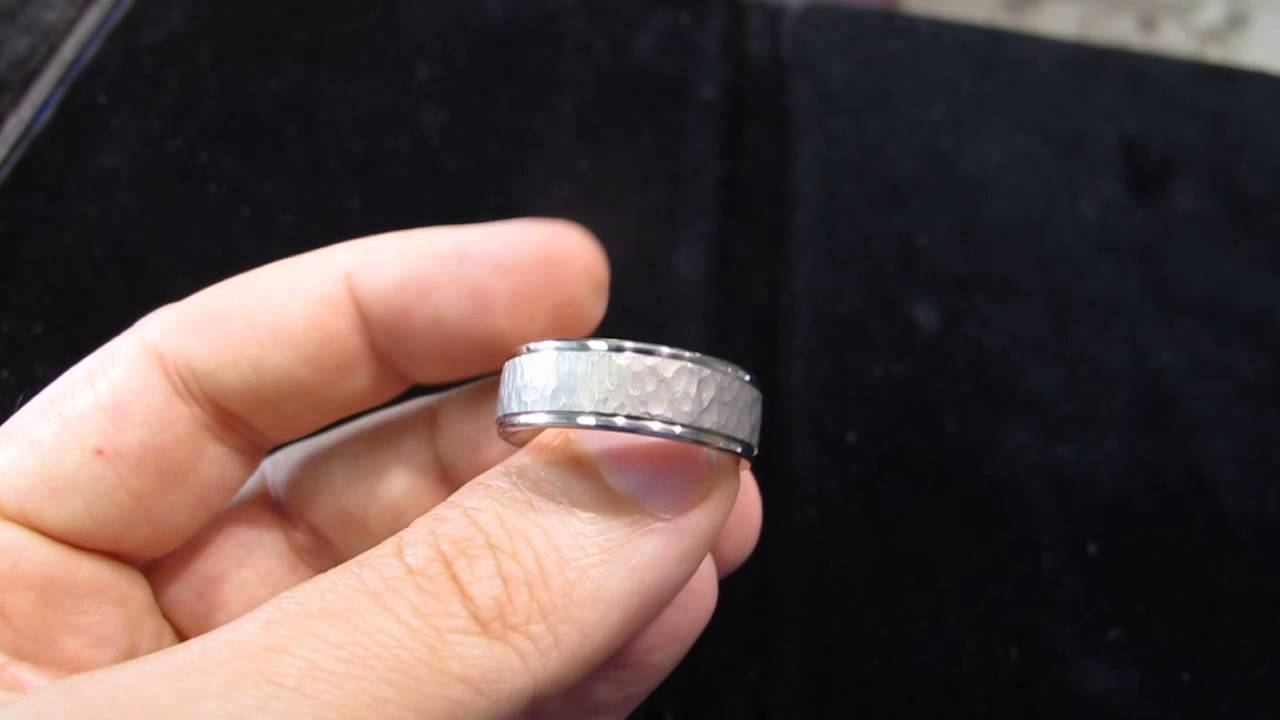 Hammered Platinum Mens Wedding Band In Los Angeles – Youtube Pertaining To Los Angeles Wedding Bands (View 5 of 15)