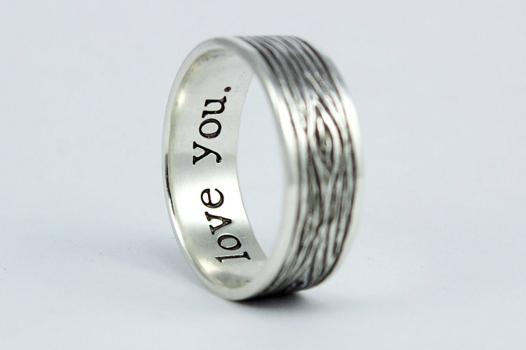 Hand Crafted Men's Rustic Sterling Silver Woodgrain Wedding Ring Pertaining To Silver Mens Wedding Rings (View 12 of 15)