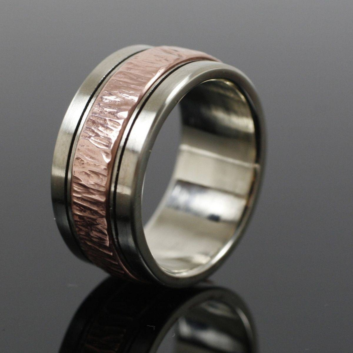 Hand Crafted Mens White Gold And Copper Wedding Bandearth Art With Silver Mens Wedding Rings (View 15 of 15)
