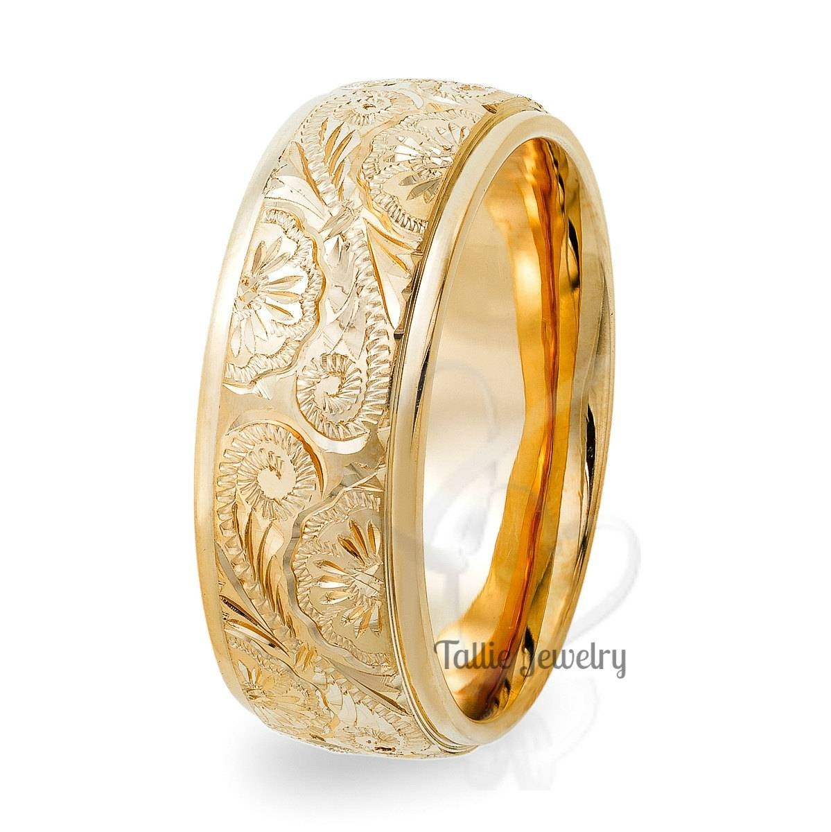 Hand Engraved Mens Wedding Bands,10K Yellow Gold Wedding Rings For Engraved Gold Wedding Bands (View 8 of 15)