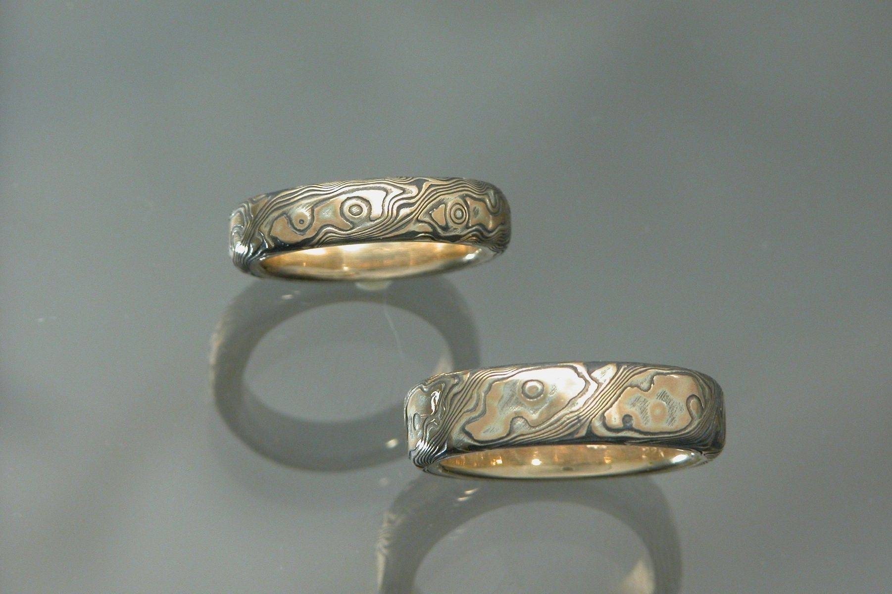 Hand Made 18K Yellow Gold With Sterling Silver Mokume Gane Wedding Within Latest Custom Platinum Wedding Bands (Gallery 12 of 15)