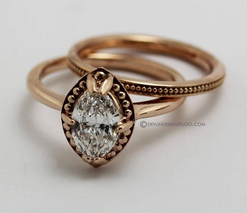 Hand Made Engagement Ring Marquise Diamond Rose Golddevlin With Regard To Custom Designed Engagement Rings (View 5 of 15)