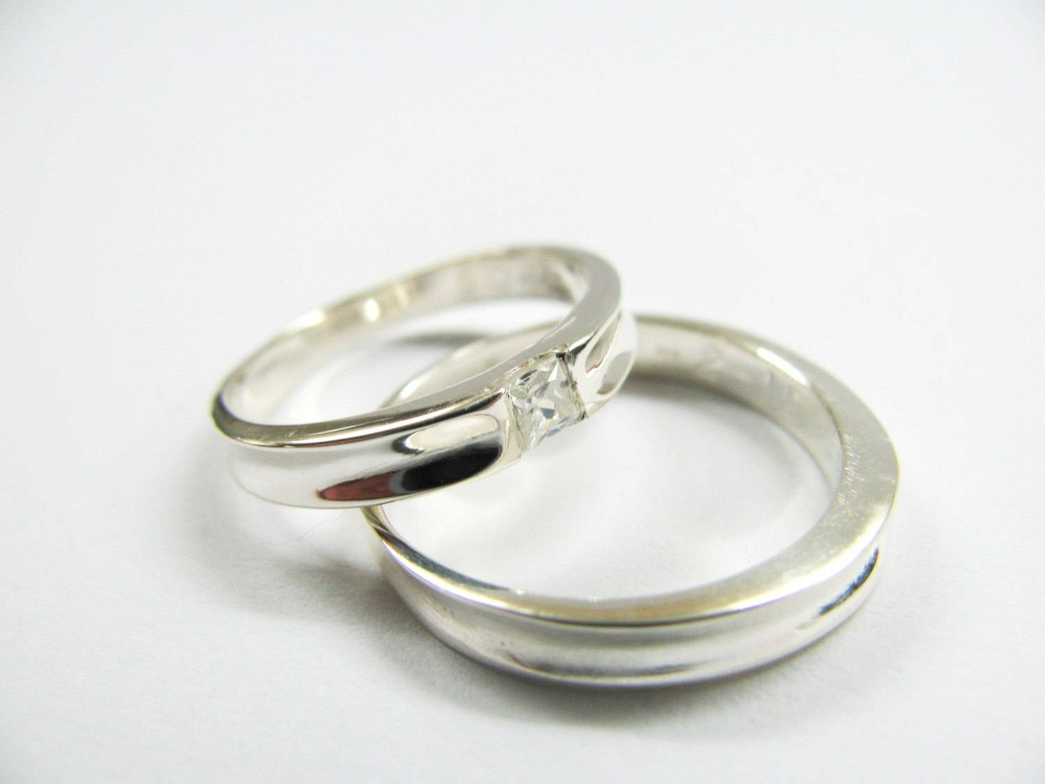 Handmade Wedding Bands White Swarovski Square Stone Within Swarovski Wedding Bands (View 4 of 15)