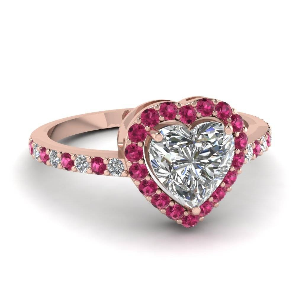 Heart Halo Diamond Ring With Pink Sapphire In 14K Rose Gold Pertaining To Pink Sapphire And Diamond Engagement Rings (Gallery 1 of 15)