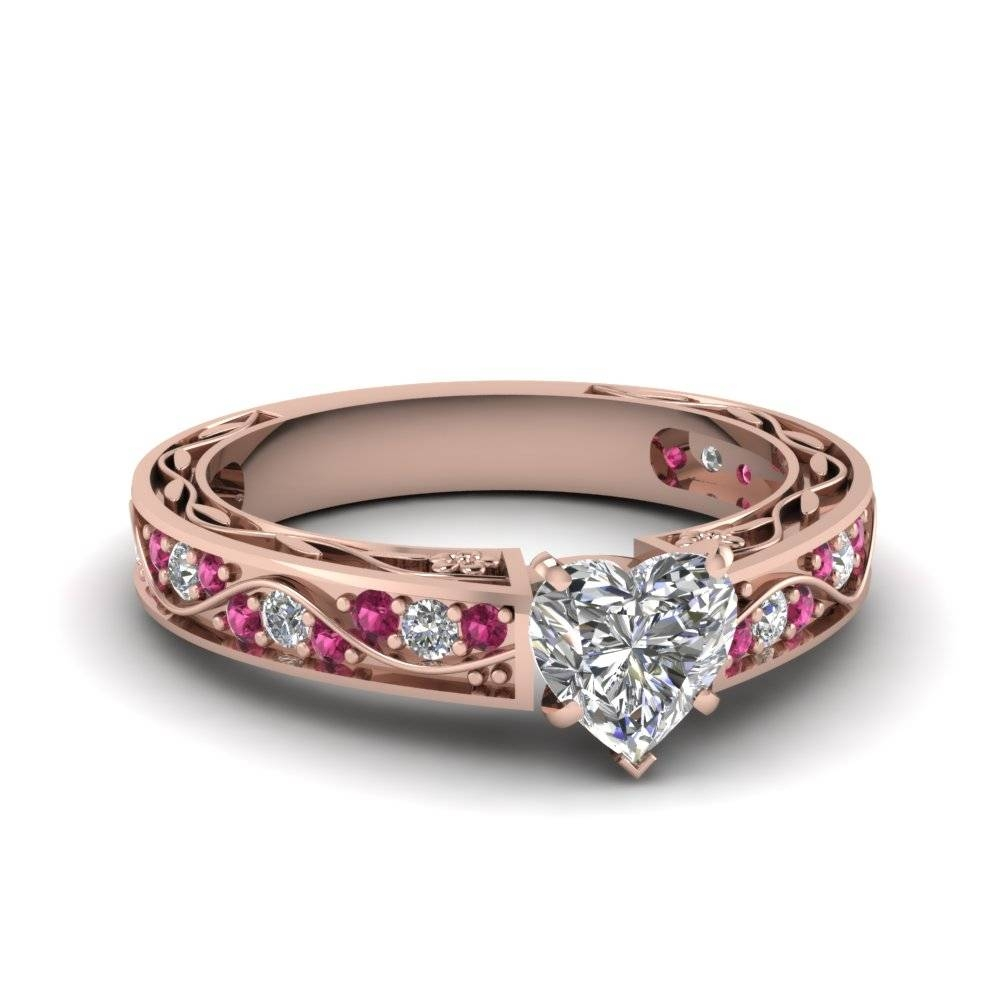 Heart Shaped Antique Filigree Diamond Ring With Pink Sapphire In Pertaining To Pink Sapphire Engagement Rings With Diamonds (View 8 of 15)