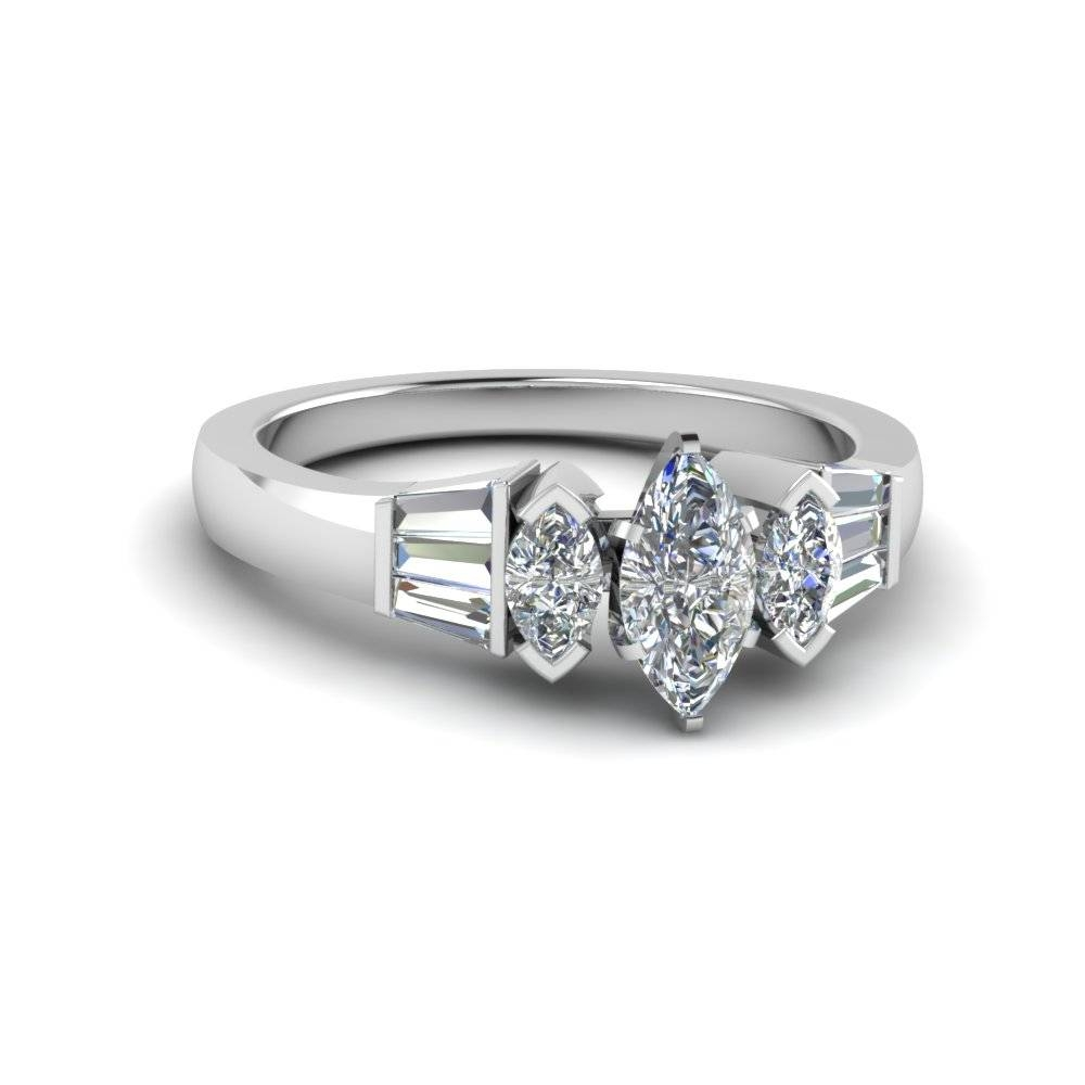 Heart Shaped Baguette Bar And Marquise Diamond Engagement Ring In With Regard To White Gold Marquise Diamond Engagement Rings (Gallery 4 of 15)