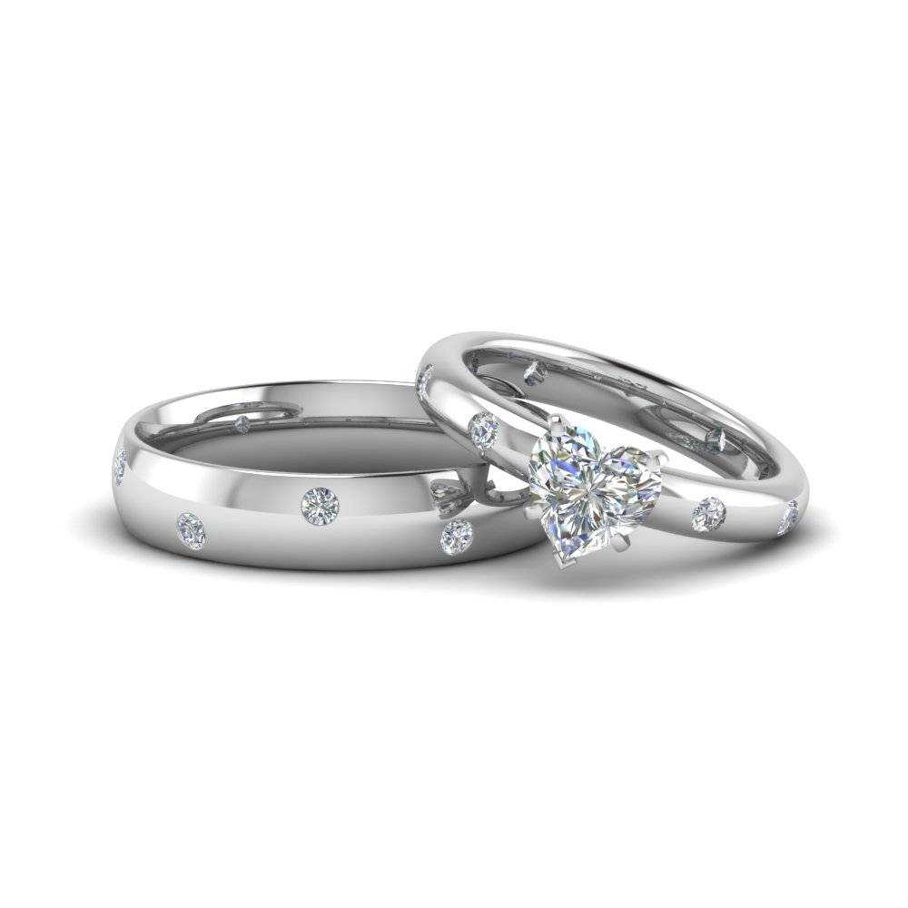 Heart Shaped Couple Wedding Rings His And Hers Matching Within Anniversary Wedding Bands Sets (View 5 of 15)