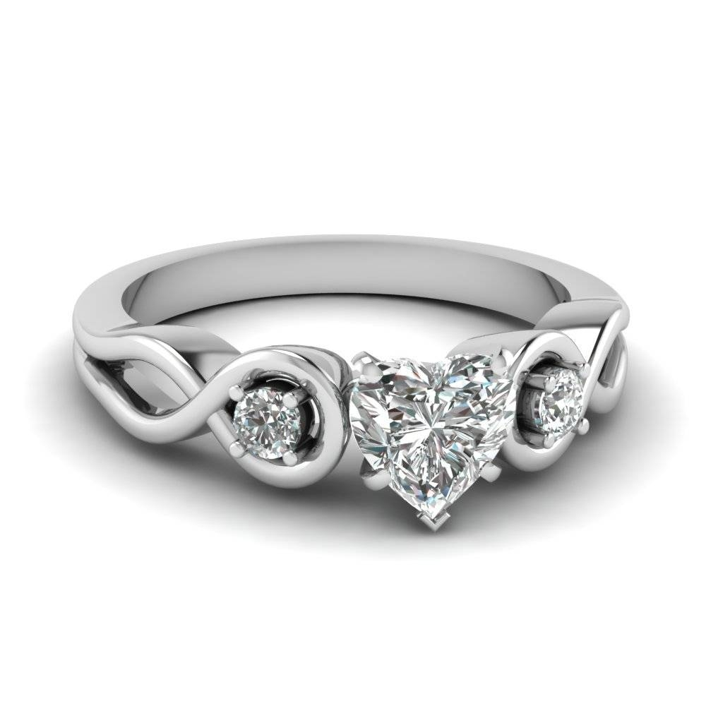 Heart Shaped Diamond Engagement Ring In 14K White Gold With  (View 10 of 15)