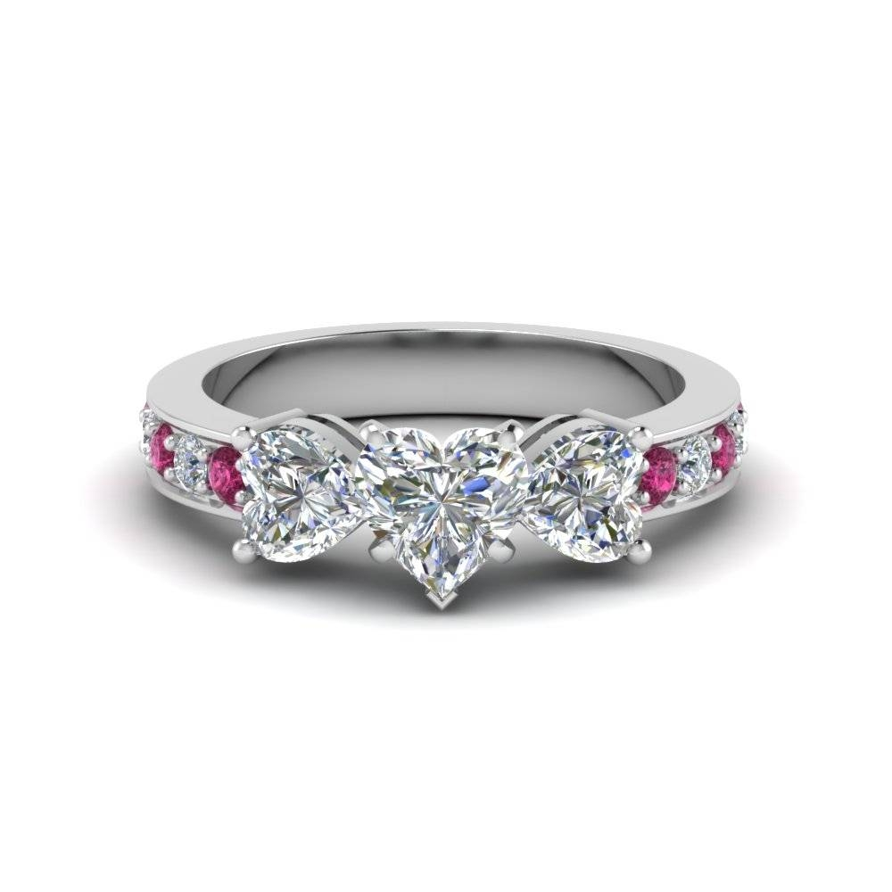 Heart Shaped Diamond Engagement Ring With Dark Pink Sapphire In In Pink Diamond White Gold Engagement Rings (View 3 of 15)