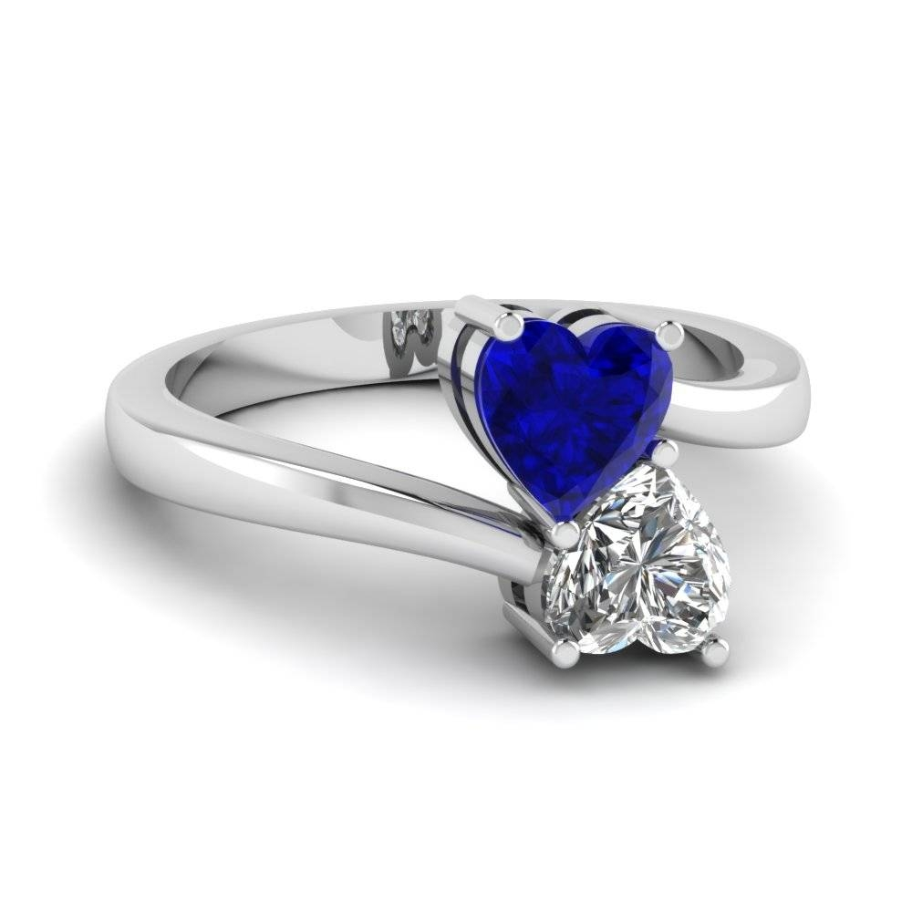Heart Shaped Diamond Heart Pair Side Stone Ring With Blue Sapphire For White Gold Engagement Rings With Blue Sapphire (View 7 of 15)