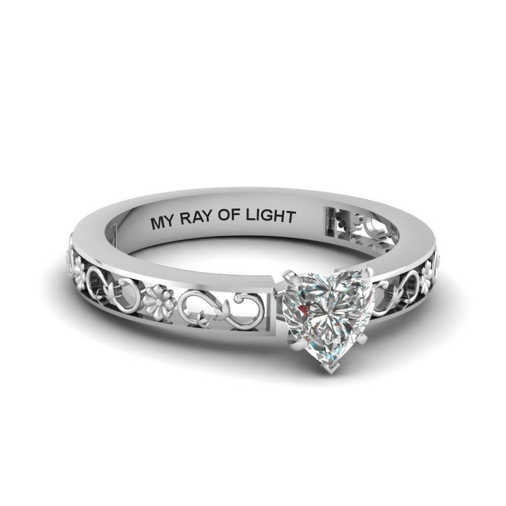 Heart Shaped Engraved Solitaire Diamond Engagement Ring In 14K With Regard To Solitare Diamond Engagement Rings (Gallery 13 of 15)
