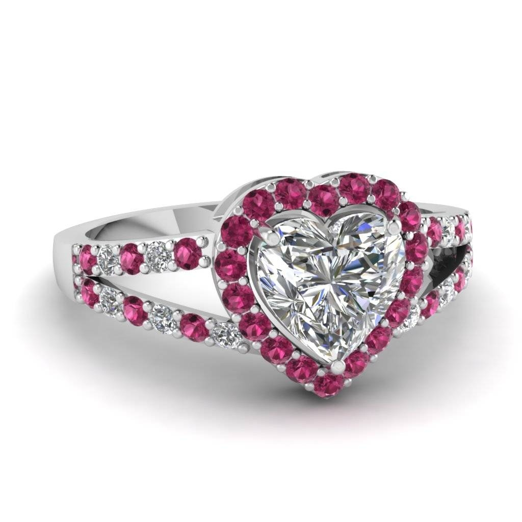 Heart Shaped Halo Diamond Split Shank Ring With Pink Sapphire In Intended For Pink Diamond White Gold Engagement Rings (View 8 of 15)