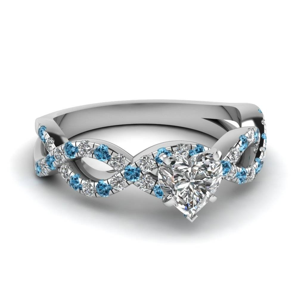 Heart Shaped Infinity Diamond Ring With Ice Blue Topaz In 14K Regarding Blue Heart Engagement Rings (Gallery 6 of 15)