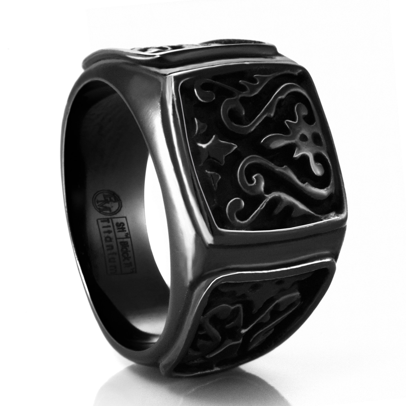 Heritage Carved Signet Titanium Ringedward Mirell For Titanium Mens Wedding Rings (View 4 of 15)
