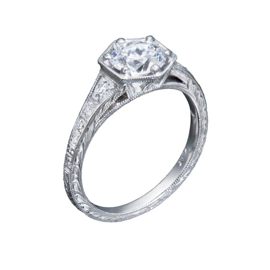 Hexagon Shaped Setting Vintage Diamond Engagement Ring Intended For Chicago Diamond Engagement Rings (Gallery 9 of 15)