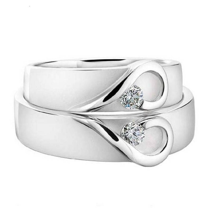 His And Hers White Gold Heart Wedding Bandsdiamond Affair In Most Up To Date Gold And White Gold Wedding Bands (Gallery 7 of 15)