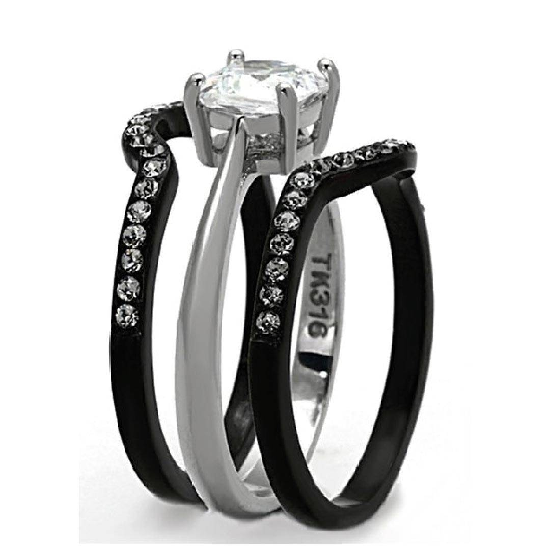 His & Hers 4 Pcs Black Ip Stainless Steel Wedding Ring Set/mens In Black Steel Wedding Bands (Gallery 6 of 15)