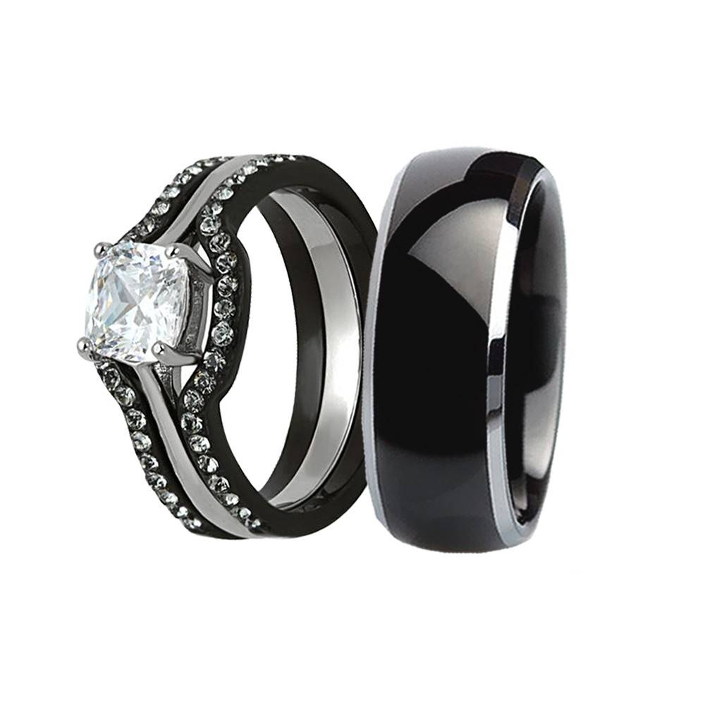 His & Hers 4 Pcs Wedding Ring Set Black Men Titanium Matching Band Regarding Black Steel Wedding Bands (View 9 of 15)