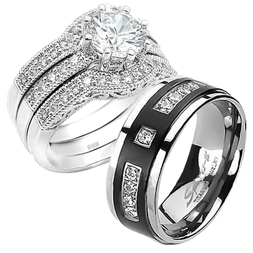 His Hers 4pcs Black Titanium 9 Czs Matching Band Women Round Cut Throughout Womens Sterling Silver Wedding Bands (View 14 of 15)