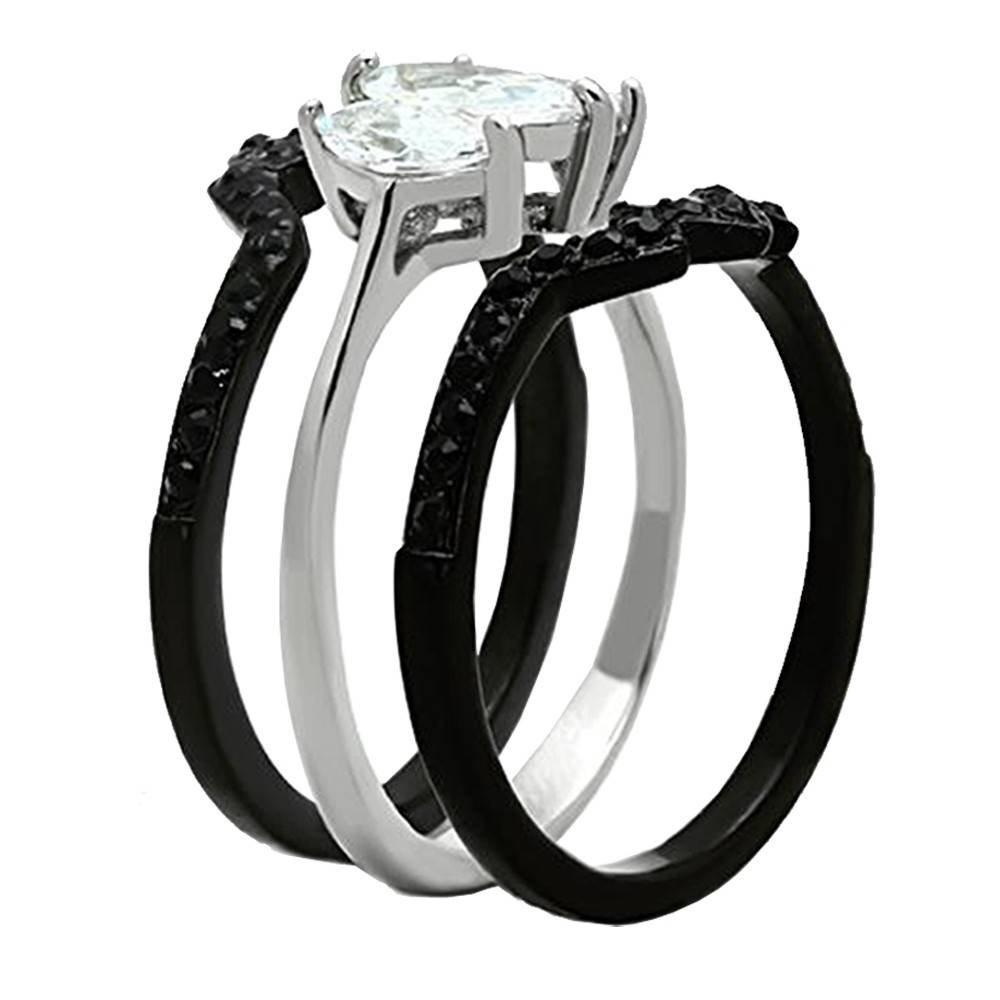 His Hers 4Pcs Black Titanium Cz Matching Band Women Bride Throughout Black Steel Wedding Bands (View 11 of 15)