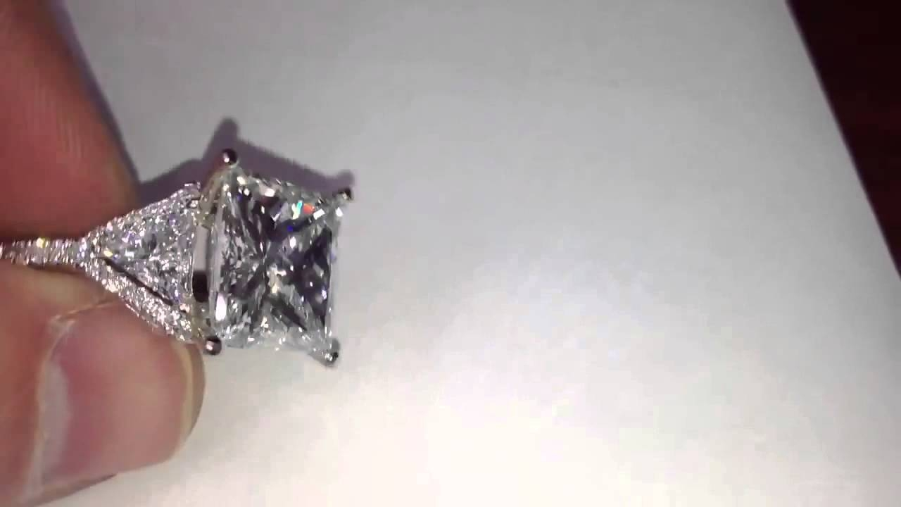 Huge Eight 8 Carat Princess Cut Diamond Engagement Ring – Youtube With 8 Carat Diamond Engagement Rings (Gallery 8 of 15)