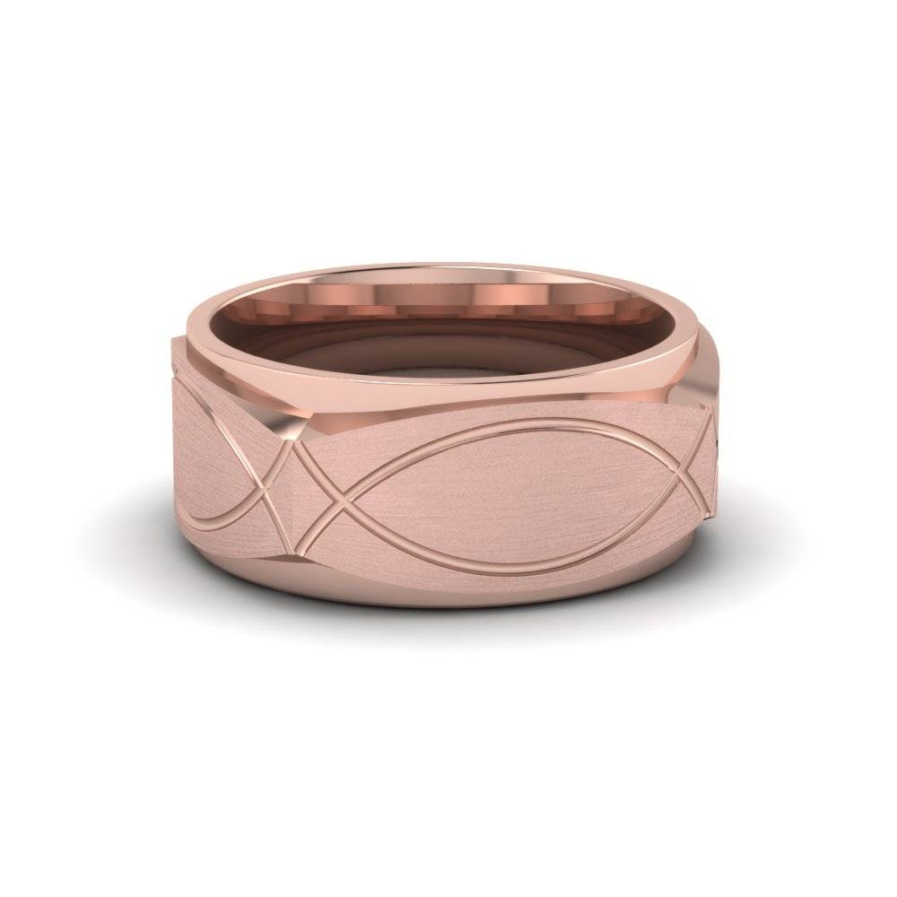 Infinity Texture Square Gold Mens Wedding Band Ring In 14K Rose For Mens Square Wedding Bands (View 6 of 15)