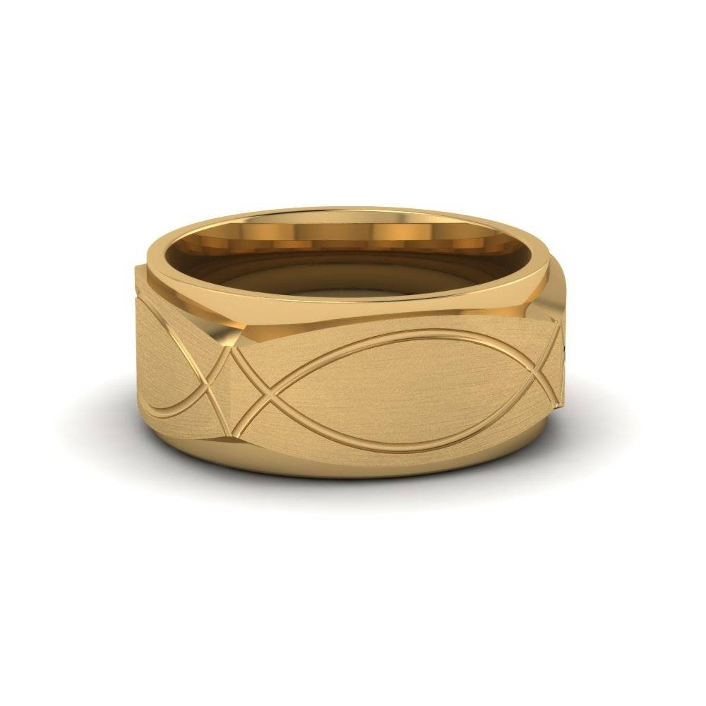Infinity Texture Square Gold Mens Wedding Band Ring In 14K Yellow Inside Most Up To Date 14K Yellow Gold Mens Wedding Bands (View 10 of 15)