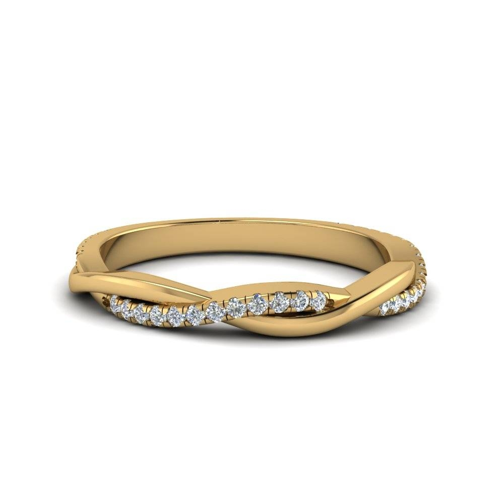 Infinity Twist Diamond Band In 18K Yellow Gold | Fascinating Diamonds Pertaining To Twist Wedding Bands (View 6 of 15)