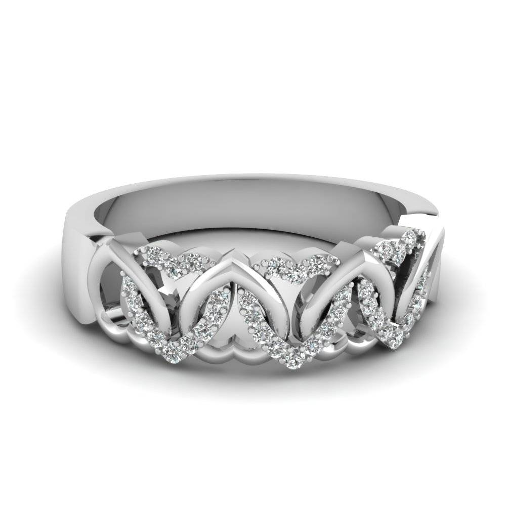Interweaved Heart Wedding Band With White Diamond In 14K White With Regard To White Gold Diamond Wedding Bands For Women (Gallery 13 of 15)