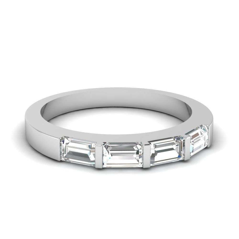 Iridescent Baguette Wedding Band With White Diamond In 950 Regarding Womans Wedding Bands (View 8 of 15)