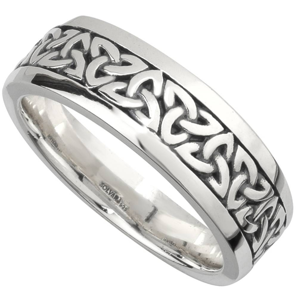 Irish Wedding Band – Sterling Silver Mens Celtic Trinity Knot Ring Within Mens Sterling Wedding Bands (View 13 of 15)