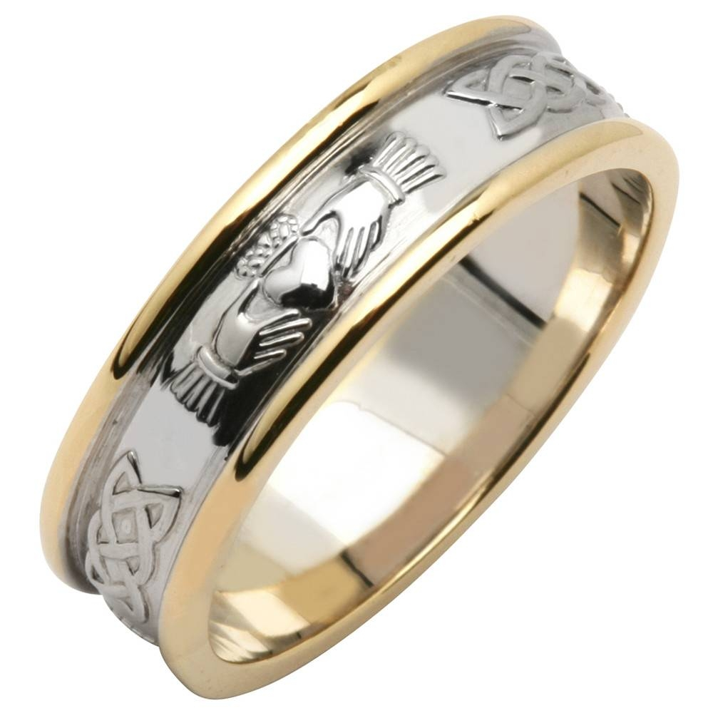 Irish Wedding Ring – Men's 14K Two Tone Yellow & White Gold In Mens White Gold Claddagh Wedding Bands (View 8 of 15)