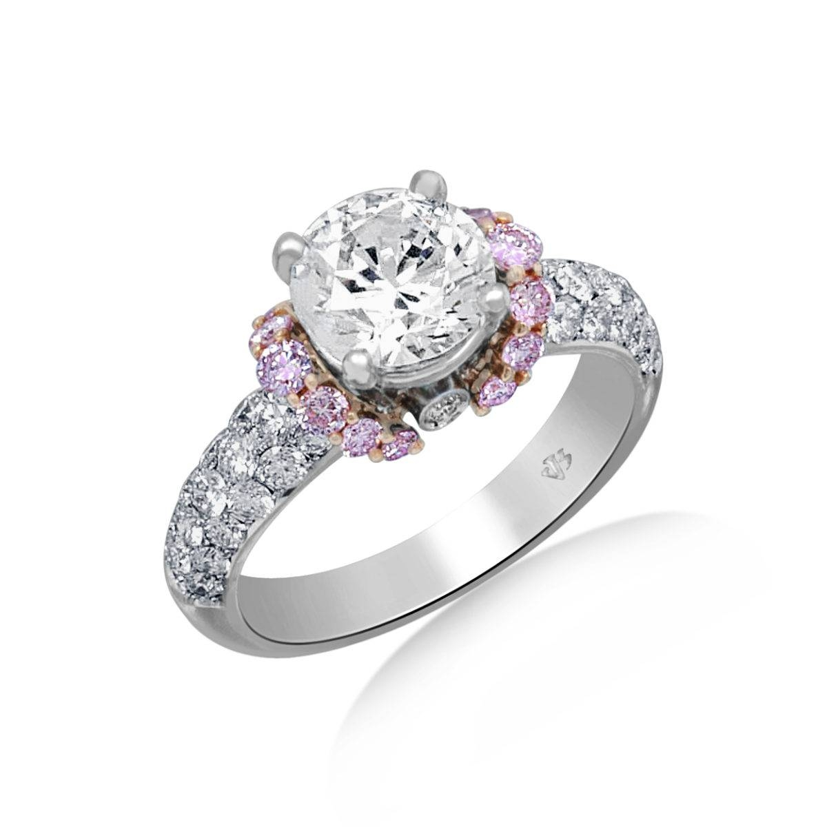 Jack Kelege Diamond Engagement Ring With Pink Diamond Accents For Pink And Diamond Engagement Rings (View 8 of 15)