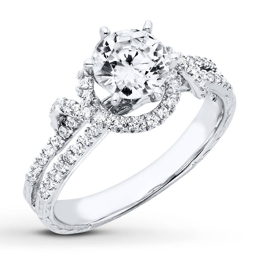 Jared – Diamond Engagement Ring 1 1/3 Ct Tw Round Cut 14K White Gold Pertaining To 14K White Gold Engagement Rings (Gallery 10 of 15)