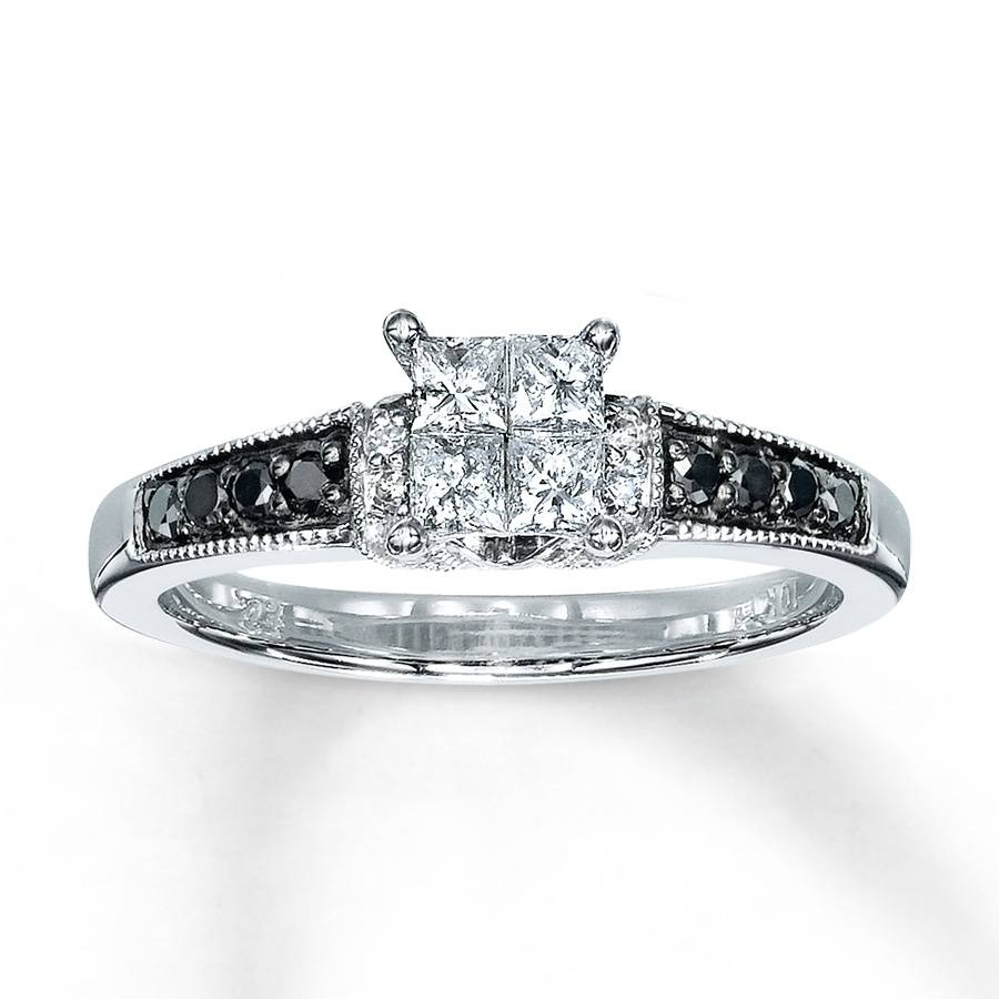 Jared – Diamond Engagement Ring 1/2 Ct Tw Diamonds 10K White Gold Within 10K Diamond Engagement Rings (Gallery 5 of 15)