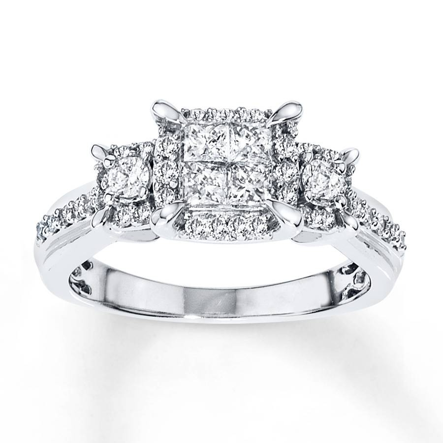 Jared – Diamond Engagement Ring 3/4 Ct Tw Princess Cut 14K White Gold In 14K Princess Cut Engagement Rings (View 7 of 15)