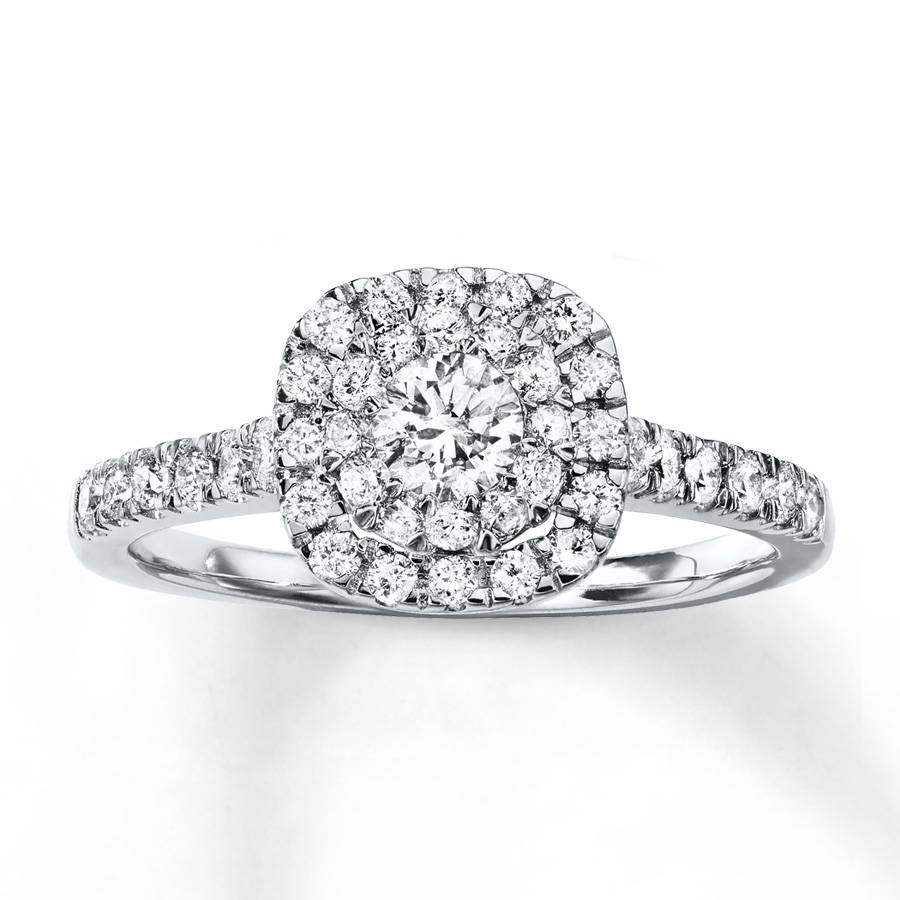 Jared – Diamond Engagement Ring 3/4 Ct Tw Round Cut 14K White Gold Within 14K Gold Diamond Engagement Rings (View 6 of 15)