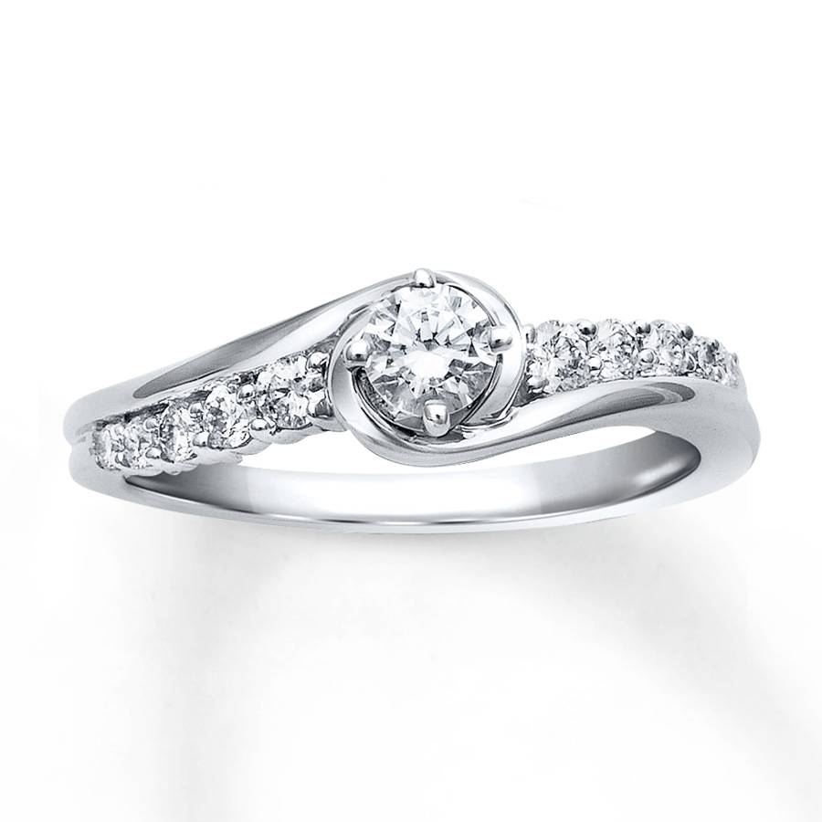 Jared – Diamond Engagement Ring 3/8 Ct Tw Round Cut 10K White Gold Pertaining To 10K Diamond Engagement Rings (View 8 of 15)