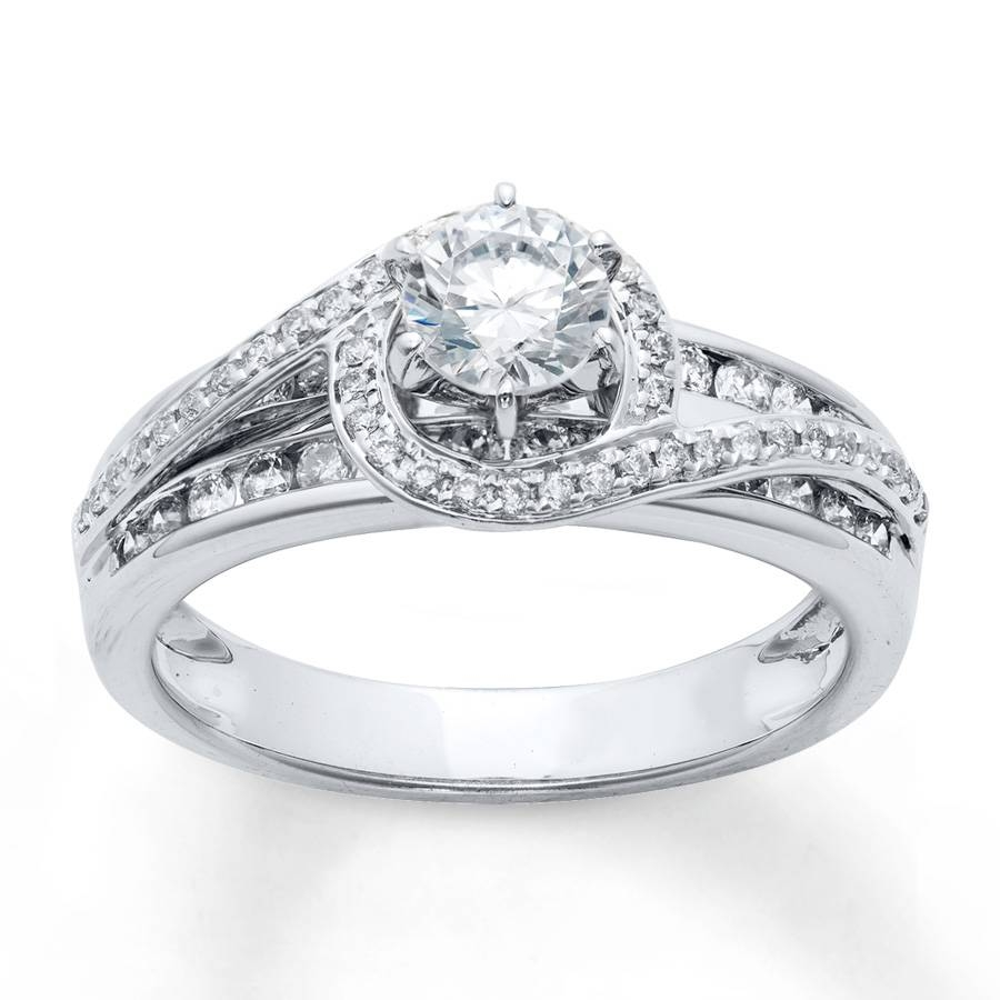 Jared – Diamond Engagement Ring 7/8 Ct Tw Round Cut 14k White Gold In 7 Diamond Engagement Rings (View 6 of 15)