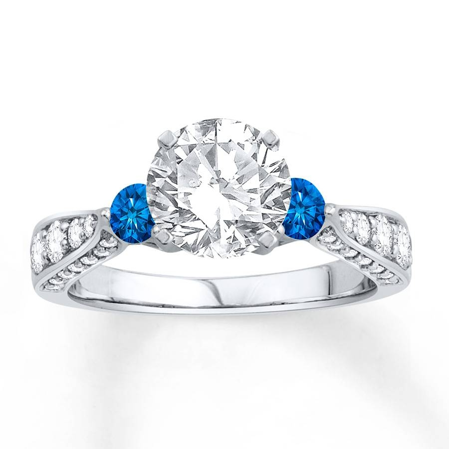 Jared – Diamond Engagement Ring Lab Created Sapphires 14K White Gold Within Lab Diamonds Engagement Rings (Gallery 10 of 15)