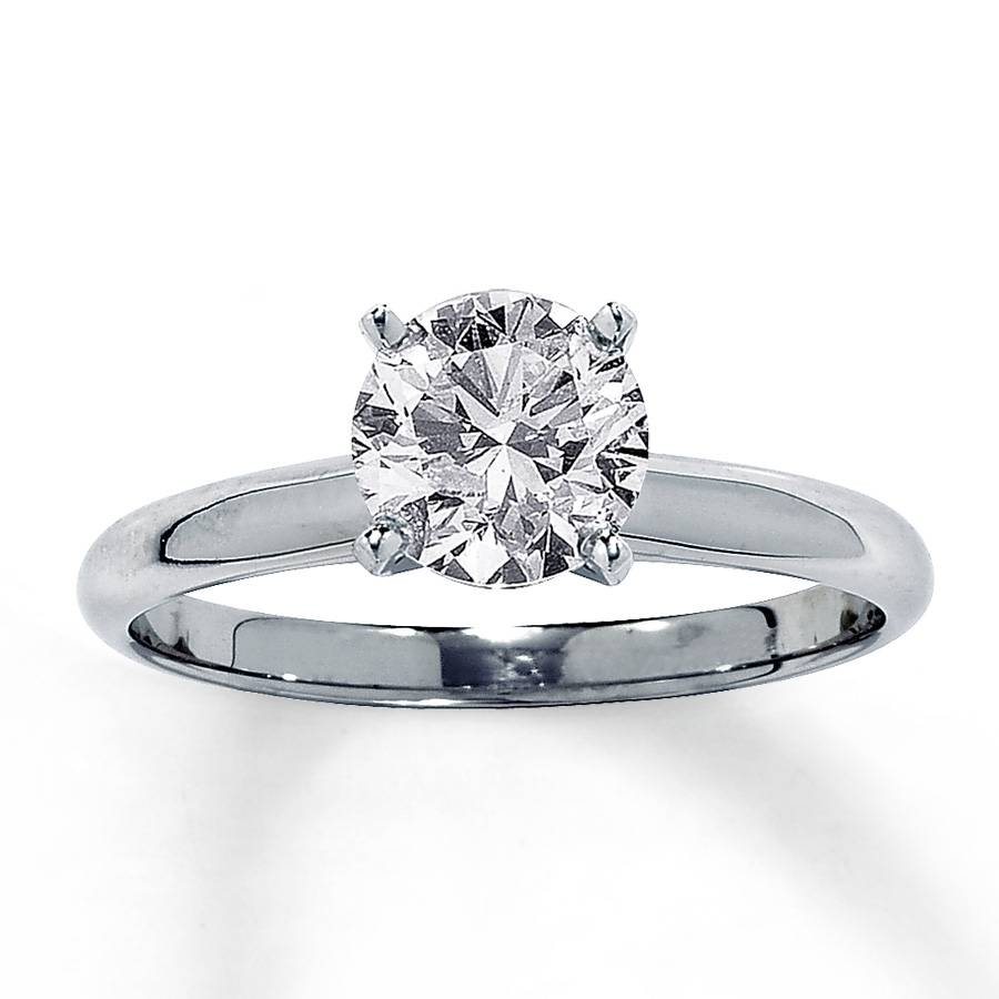 Jared – Diamond Solitaire Ring 1 1/2 Carat Round Cut 14k White Gold With Regard To 2 Ct Wedding Rings (View 4 of 15)
