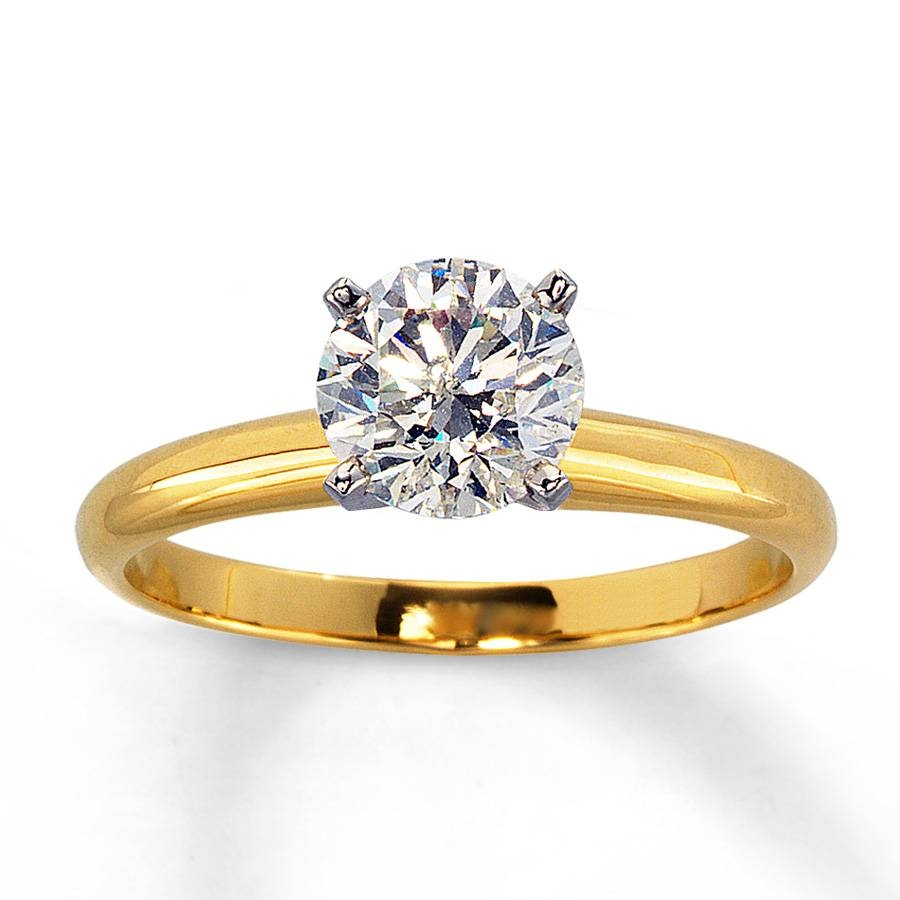 Jared – Diamond Solitaire Ring 1 Carat Round 14k Yellow Gold Inside 14k Gold Diamond Engagement Rings (View 8 of 15)
