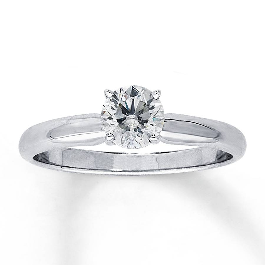Jared – Diamond Solitaire Ring 5/8 Carat Round Cut 14K White Gold Throughout 8 Carat Diamond Engagement Rings (Gallery 14 of 15)