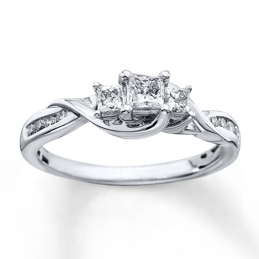Kay – 3 Stone Diamond Ring 1/2 Ct Tw Princess Cut 10K White Gold Regarding 3 Stone Halo Engagement Ring Settings (View 7 of 15)