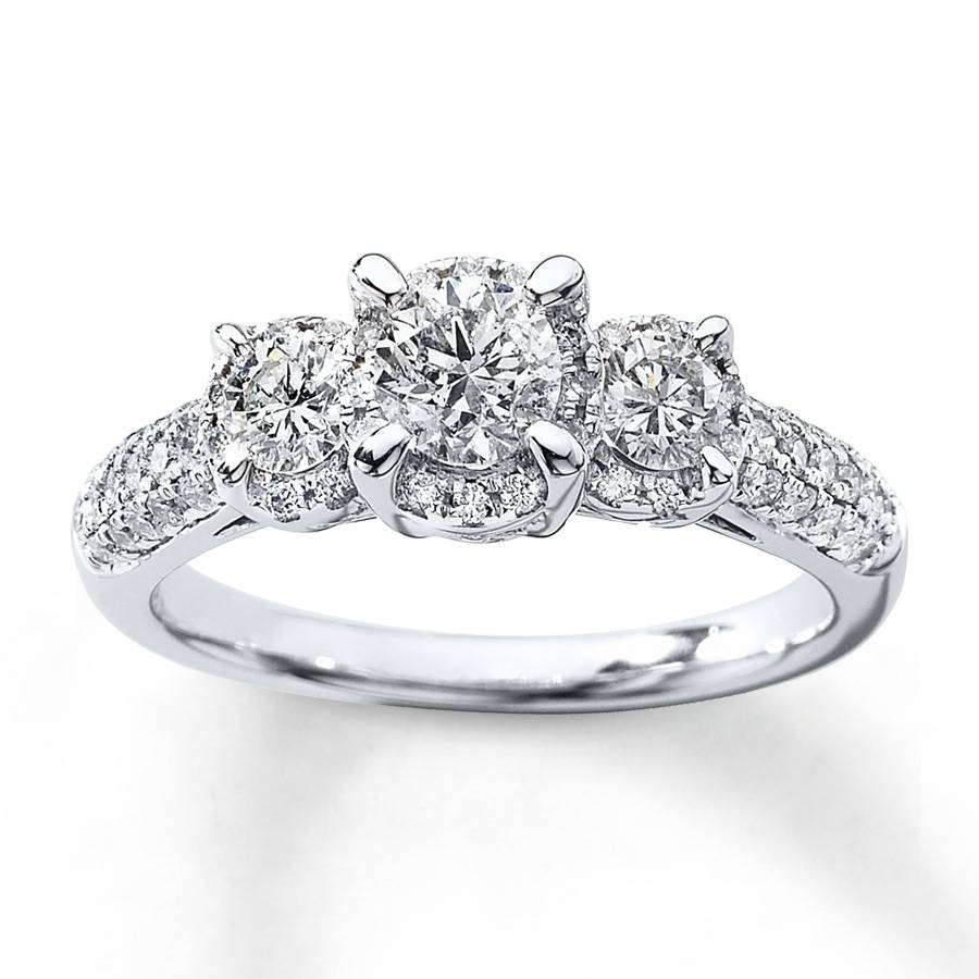 Kay – 3 Stone Diamond Ring 1 Ct Tw Round Cut 14K White Gold In Round Cut Engagement Rings With Side Stones (View 6 of 15)