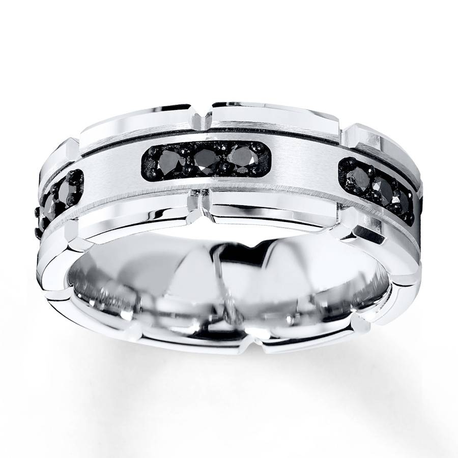 Kay – 8Mm Wedding Band 1/3 Ct Tw Black Diamonds White Tungsten Regarding Tungsten Diamond Wedding Rings (View 6 of 15)